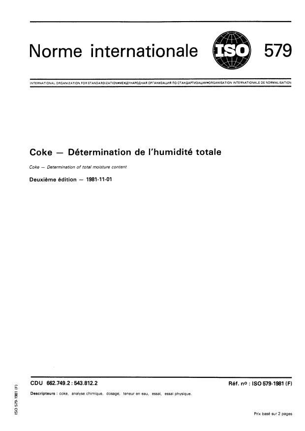 ISO 579:1981 - Coke -- Détermination de l'humidité totale