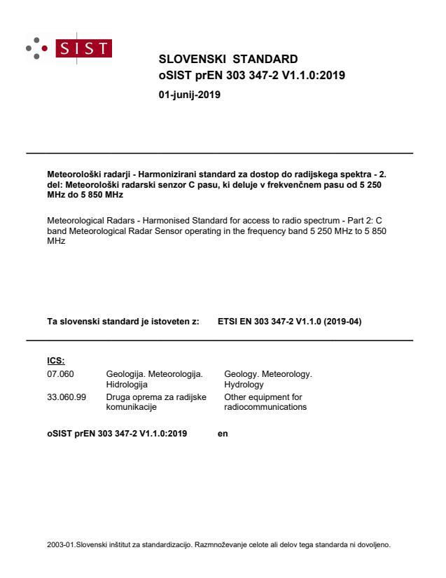 oSIST prEN 303 347-2 V1.1.0:2019