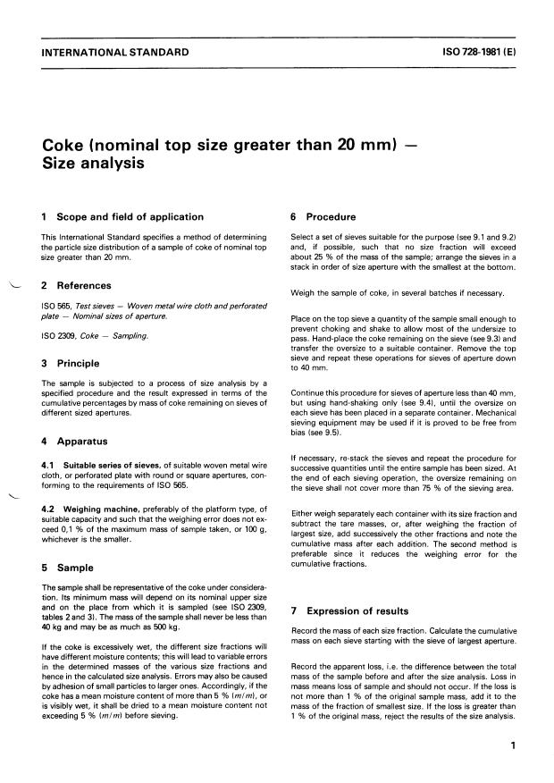 ISO 728:1981 - Coke (nominal top size greater than 20 mm) -- Size analysis