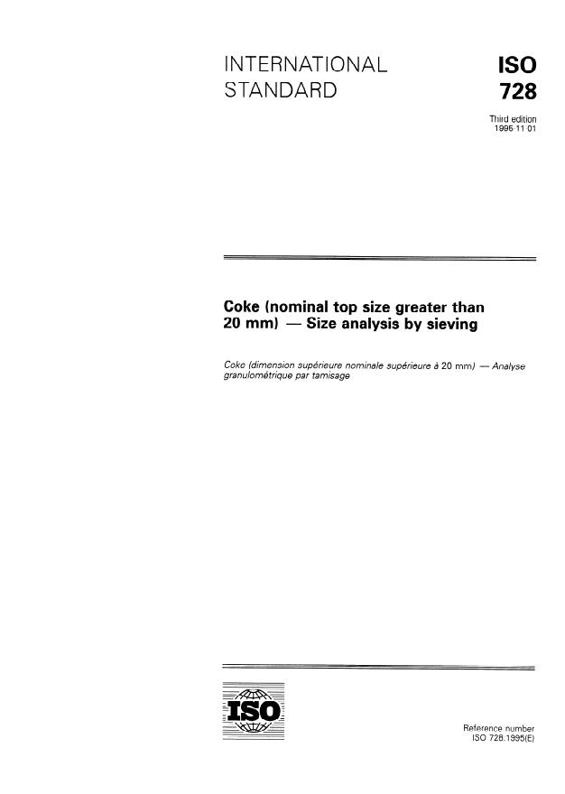 ISO 728:1995 - Coke (nominal top size greater than 20 mm) -- Size analysis by sieving