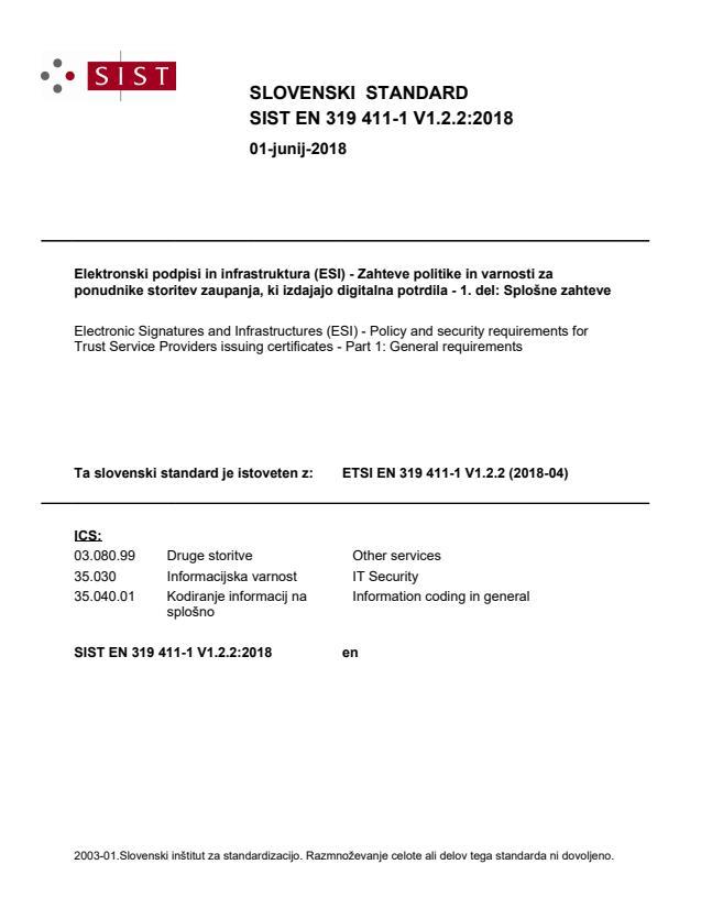 SIST EN 319 411-1 V1.2.2:2018