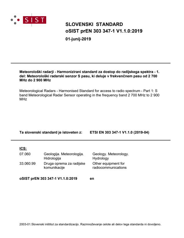 oSIST prEN 303 347-1 V1.1.0:2019