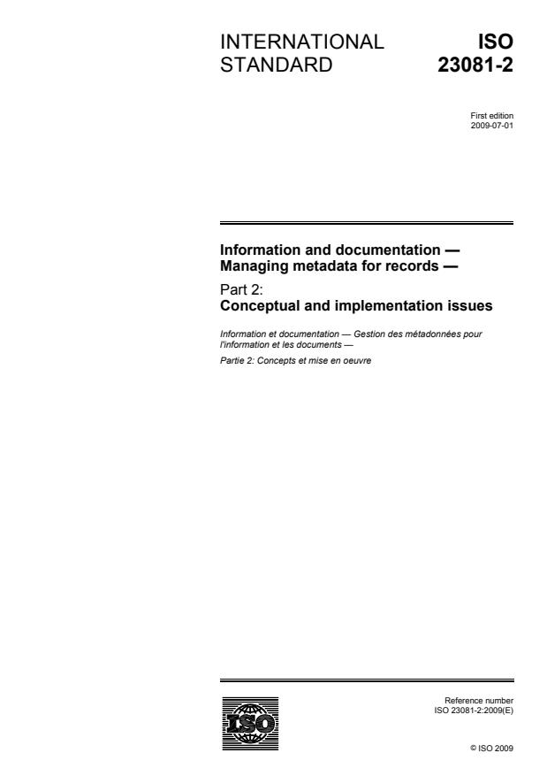 ISO 23081-2:2009 - Information and documentation -- Managing metadata for records