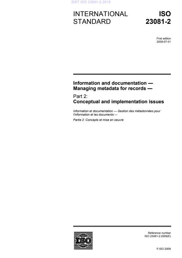 SIST ISO 23081-2:2010
