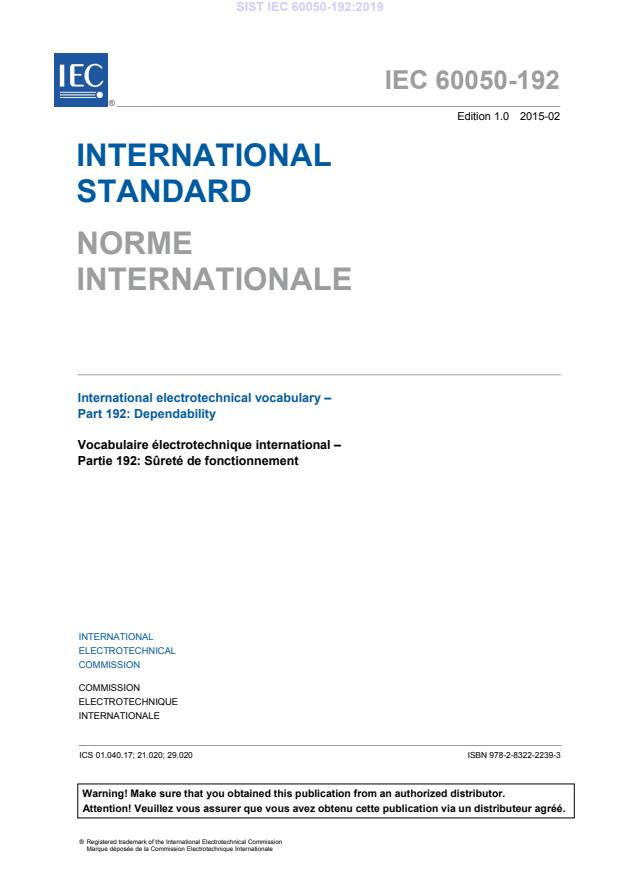 SIST IEC 60050-192:2019