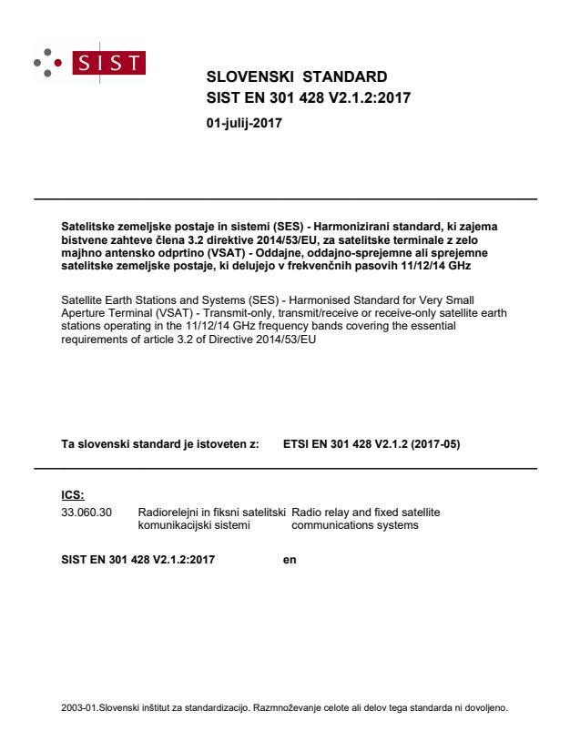 SIST EN 301 428 V2.1.2:2017