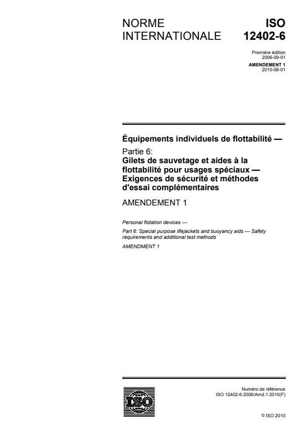 ISO 12402-6:2006/Amd 1:2010