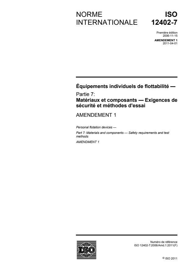 ISO 12402-7:2006/Amd 1:2011