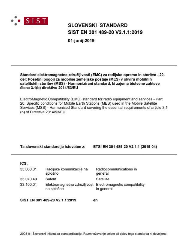 SIST EN 301 489-20 V2.1.1:2019