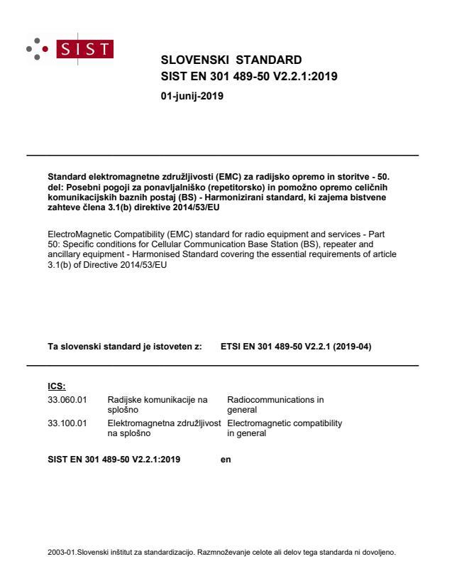 SIST EN 301 489-50 V2.2.1:2019