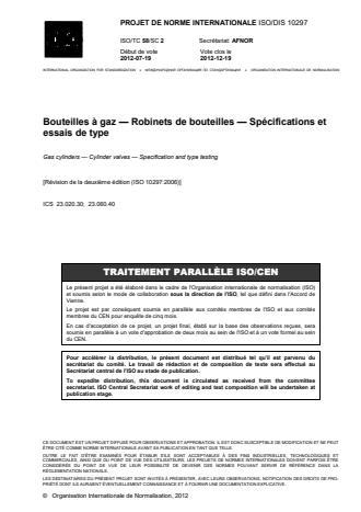 ISO 10297:2014 - Bouteilles a gaz -- Robinets de bouteilles -- Spécifications et essais de type