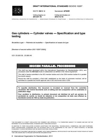 ISO 10297:2014 - Gas cylinders -- Cylinder valves -- Specification and type testing
