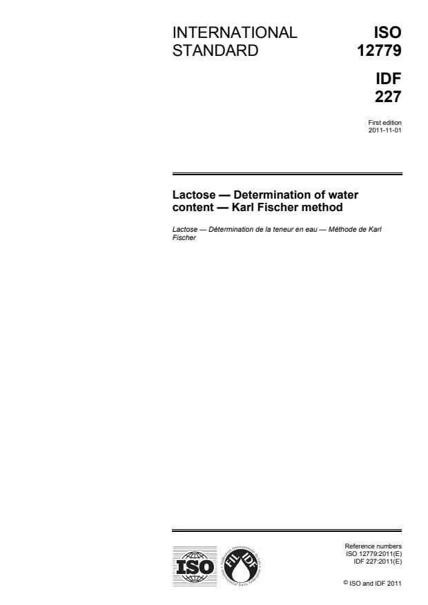 ISO 12779:2011 - Lactose -- Determination of water content -- Karl Fischer method