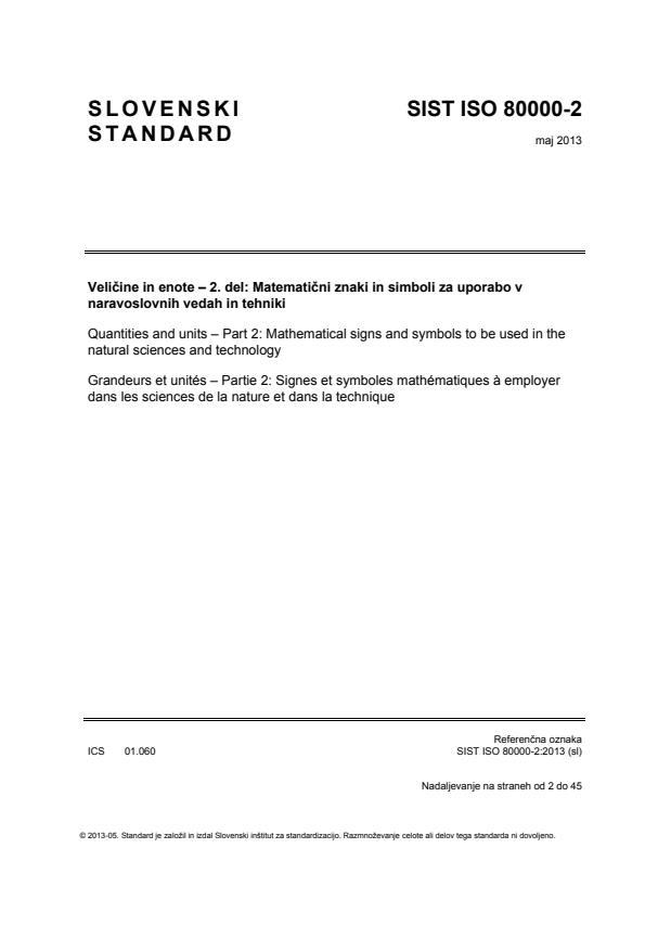 SIST ISO 80000-2:2013 - za tisk, natisnjeno za čitalnico