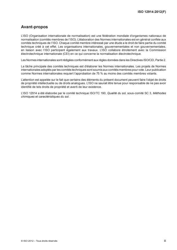 ISO 12914:2012 - Qualité du sol -- Extraction assistée par micro-ondes de la fraction soluble dans l'eau régale pour la détermination des éléments