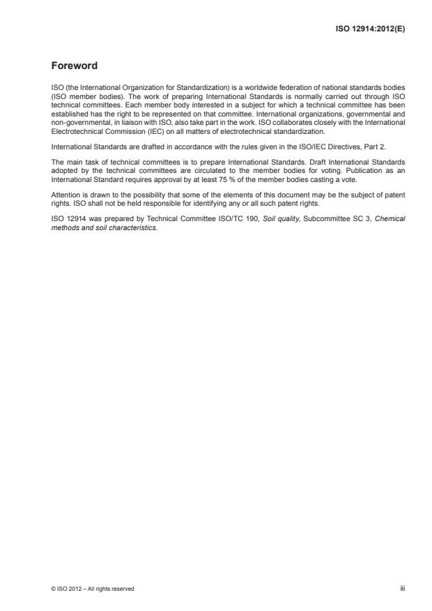 ISO 12914:2012 - Soil quality -- Microwave-assisted extraction of the aqua regia soluble fraction for the determination of elements