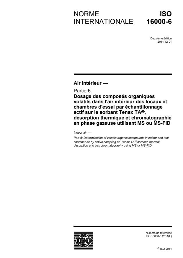 ISO 16000-6:2011 - Air intérieur