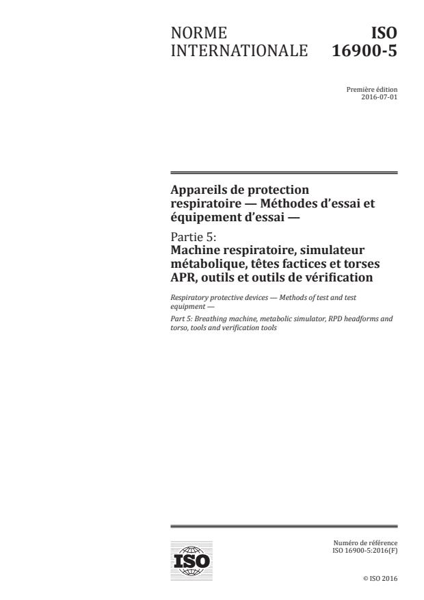 ISO 16900-5:2016 - Appareils de protection respiratoire -- Méthodes d'essai et équipement d'essai