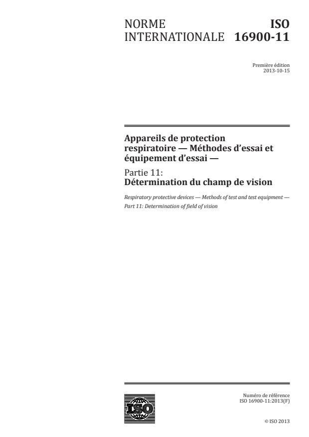 ISO 16900-11:2013 - Appareils de protection respiratoire -- Méthodes d'essai et équipement d'essai