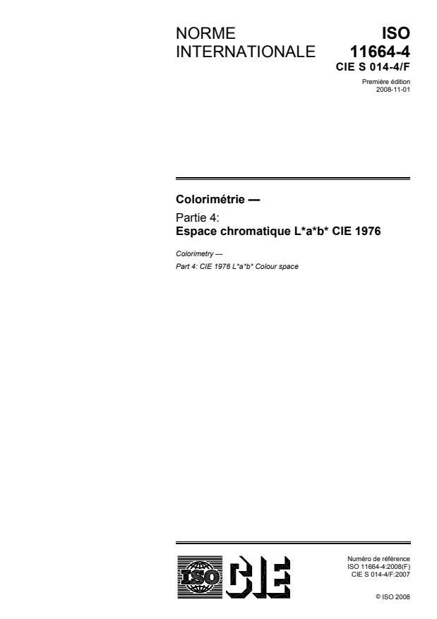 ISO 11664-4:2008 - Colorimétrie