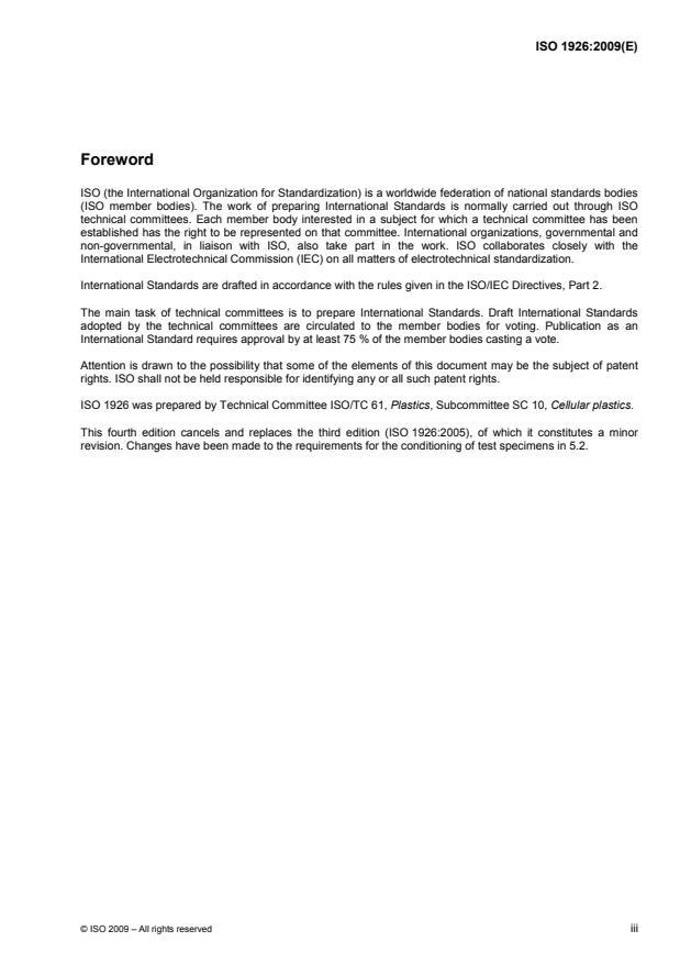 ISO 1926:2009 - Rigid cellular plastics -- Determination of tensile properties