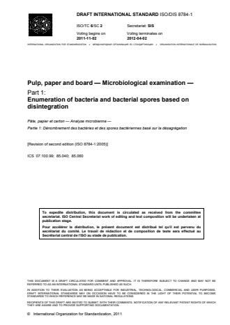 ISO 8784-1:2014 - Pulp, paper and board -- Microbiological examination