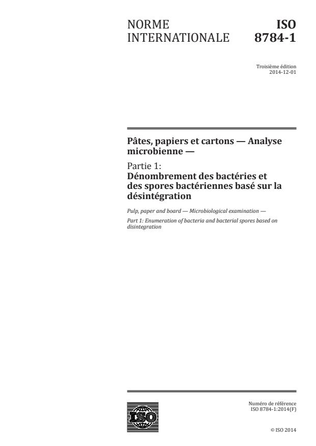 ISO 8784-1:2014 - Pâtes, papiers et cartons -- Analyse microbienne