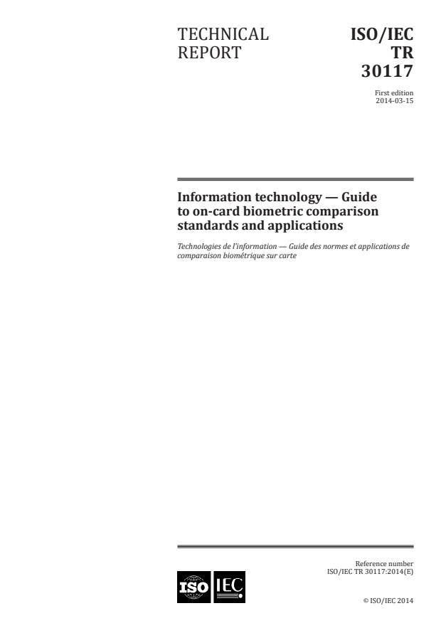 ISO/IEC TR 30117:2014 - Information technology -- Guide to on-card biometric comparison standards and applications
