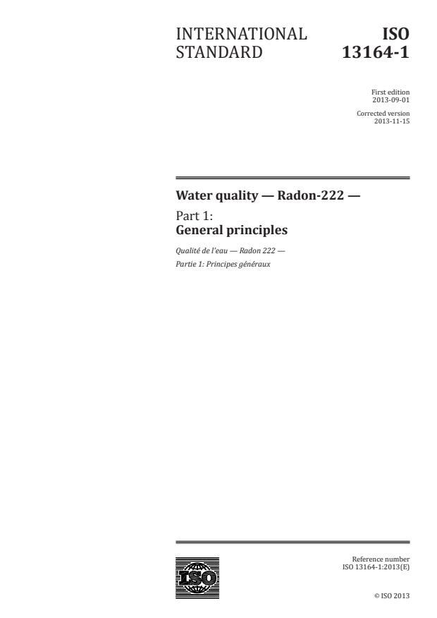ISO 13164-1:2013 - Water quality -- Radon-222