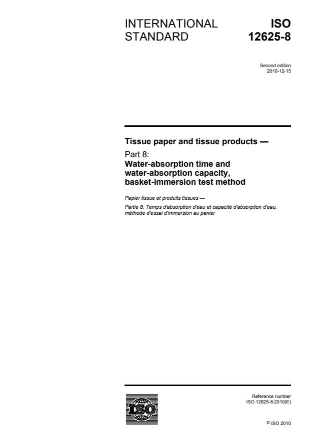 ISO 12625-8:2010 - Tissue paper and tissue products