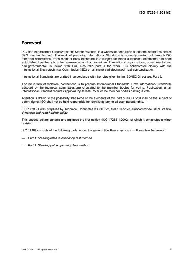 ISO 17288-1:2011 - Passenger cars -- Free-steer behaviour