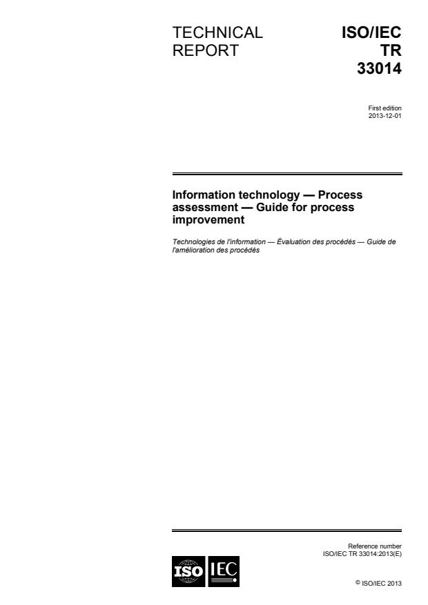 ISO/IEC TR 33014:2013 - Information technology -- Process assessment -- Guide for process improvement