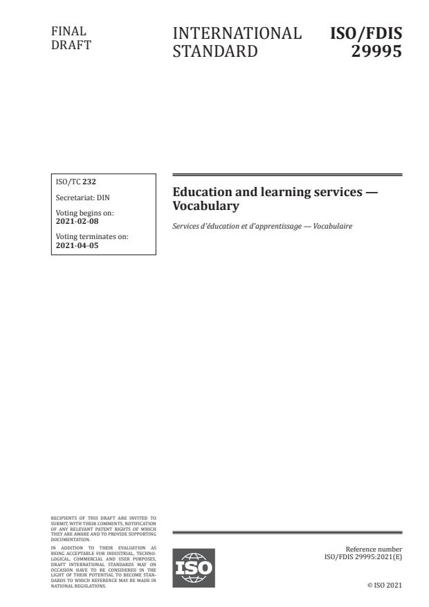 ISO/FDIS 29995:Version 05-feb-2021 - Education and learning services -- Vocabulary