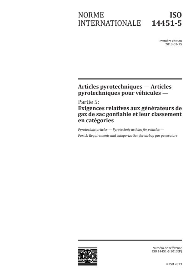 ISO 14451-5:2013 - Articles pyrotechniques -- Articles pyrotechniques pour véhicules