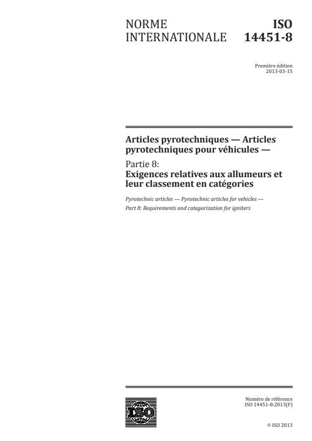 ISO 14451-8:2013 - Articles pyrotechniques -- Articles pyrotechniques pour véhicules