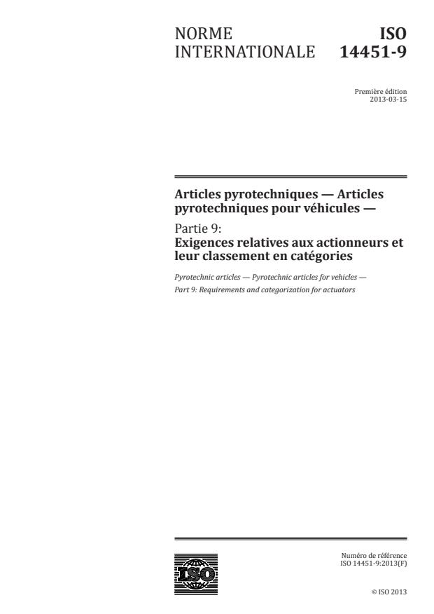 ISO 14451-9:2013 - Articles pyrotechniques -- Articles pyrotechniques pour véhicules