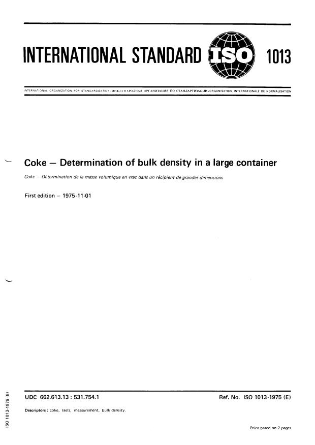 ISO 1013:1975 - Coke -- Determination of bulk density in a large container