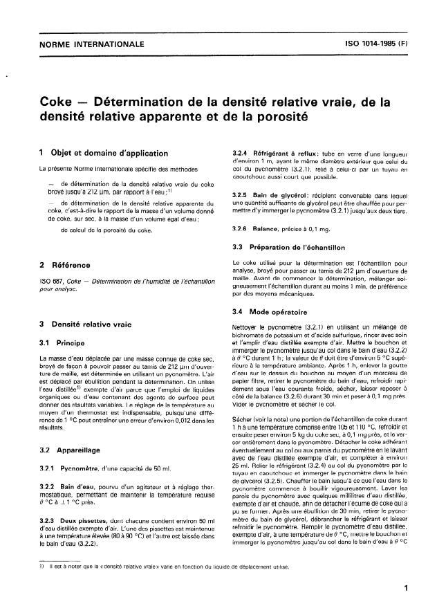 ISO 1014:1985 - Coke -- Détermination de la densité relative vraie, de la densité relative apparente et de la porosité