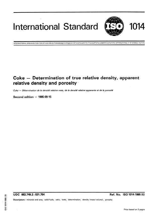 ISO 1014:1985 - Coke -- Determination of true relative density, apparent relative density and porosity