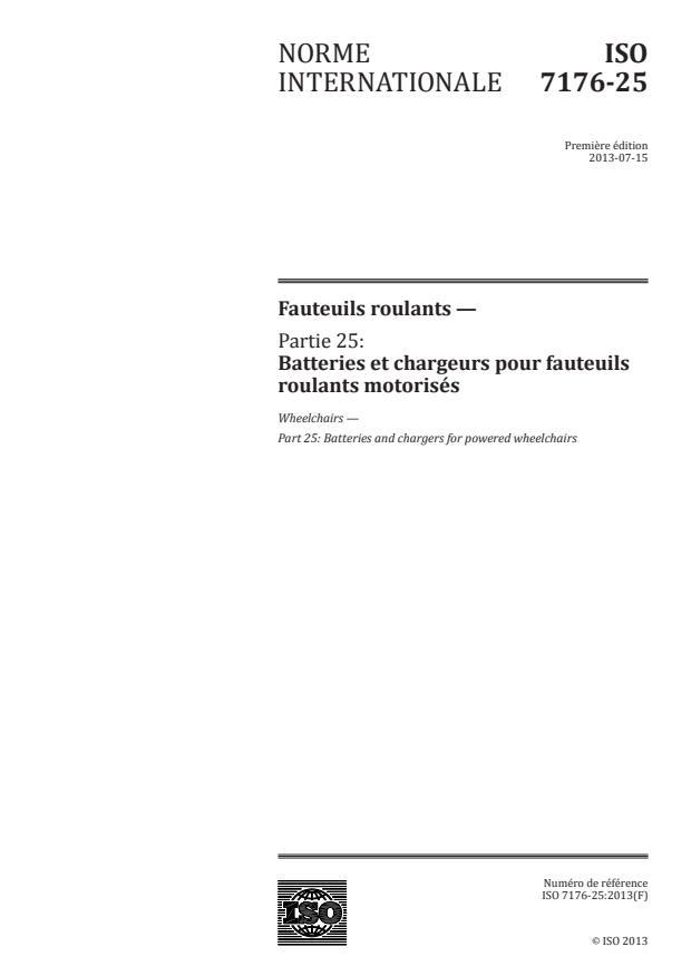 ISO 7176-25:2013 - Fauteuils roulants
