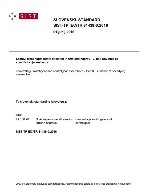 SIST-TP IEC/TR 61439-0:2016