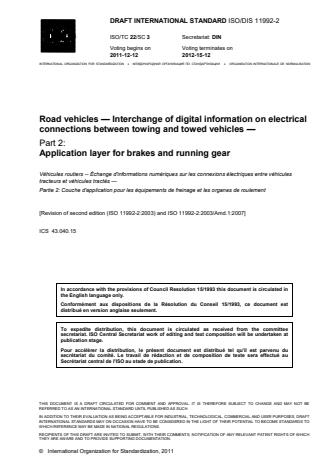 ISO 11992-2:2014 - Road vehicles -- Interchange of digital information on electrical connections between towing and towed vehicles