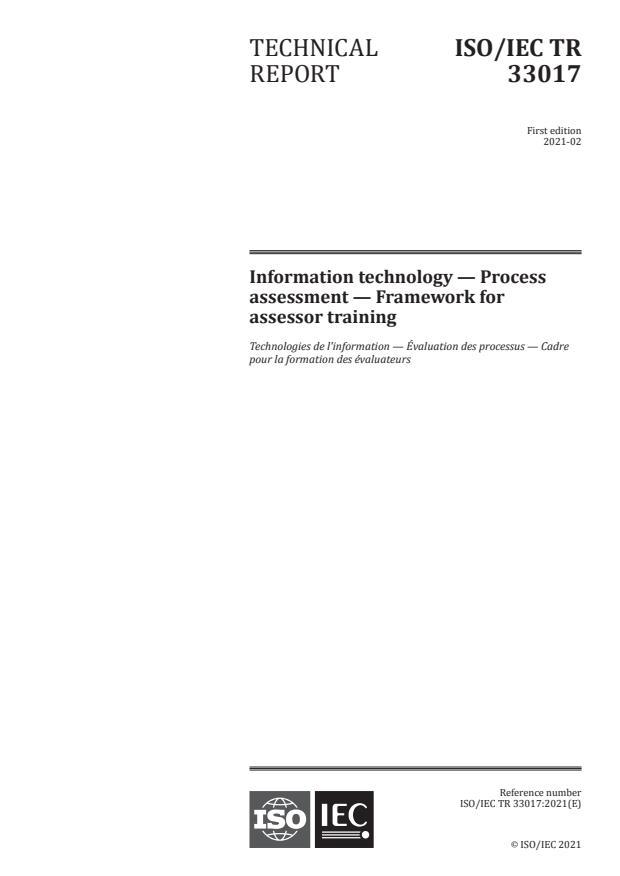 ISO/IEC TR 33017:2021 - Information technology -- Process assessment -- Framework for assessor training