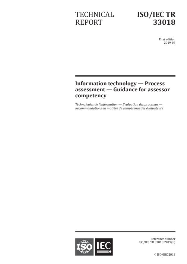 ISO/IEC TR 33018:2019 - Information technology -- Process assessment -- Guidance for assessor competency
