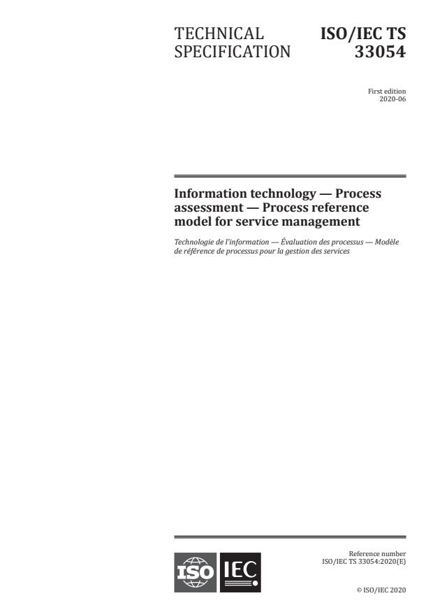 ISO/IEC TS 33054:2020 - Information technology -- Process assessment -- Process reference model for service management