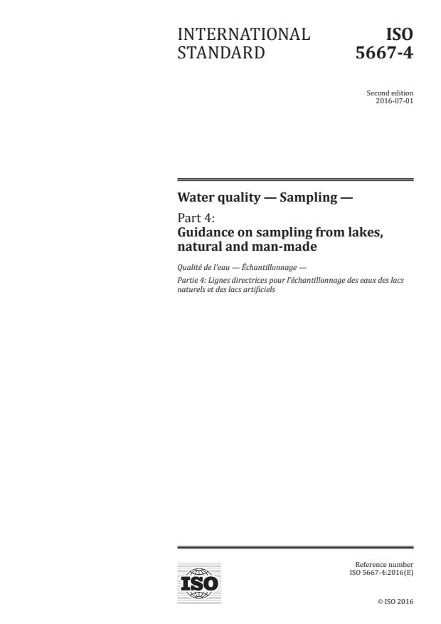 ISO 5667-4:2016 - Water quality -- Sampling