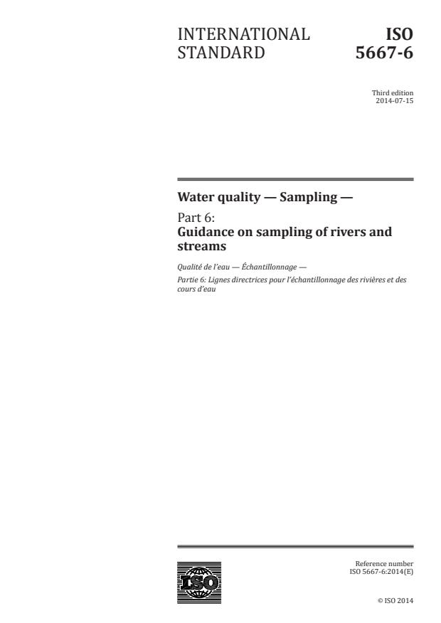 ISO 5667-6:2014 - Water quality -- Sampling