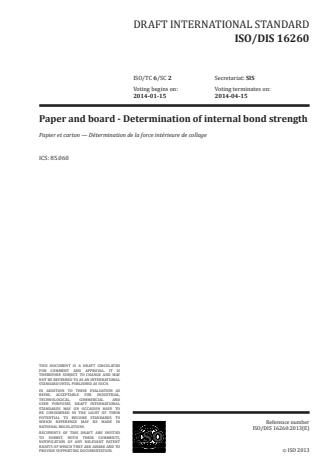 ISO 16260:2016 - Paper and board -- Determination of internal bond strength