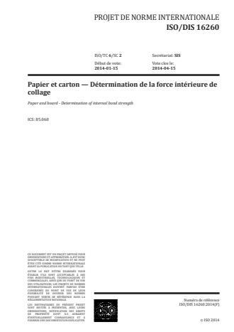 ISO 16260:2016 - Papier et carton -- Détermination de la force de cohésion interne