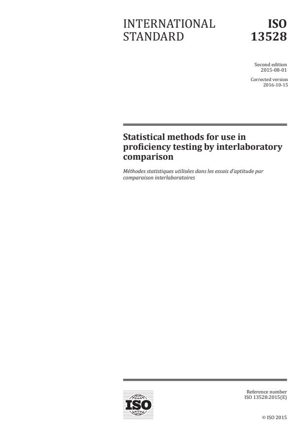 ISO 13528:2015 - Statistical methods for use in proficiency testing by interlaboratory comparison